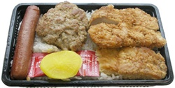 Bento, Hamburger Steak, Fish, Hotdog & Chicken Katsu, Steamed Rice